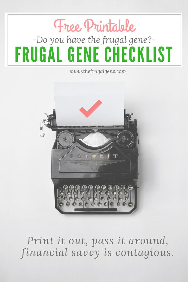frugal gene checklist, color printables, b/w printables, budget, frugal gene
